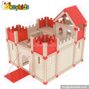 Fancy wooden castle toy for children W06A111