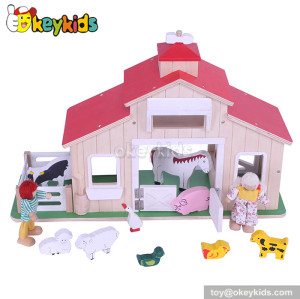 Funny children wooden toys farm playset W06A127
