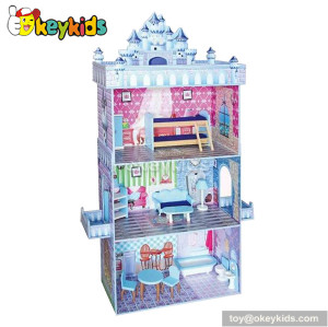 Fancy castle wooden toy dollhouse for babies W06A079