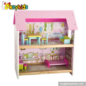 Beautiful wooden fairy dollhouse with furniture W06A078