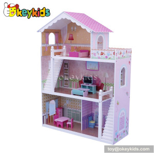 Luxury wooden dollhouse with furniture set W06A083