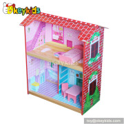Creative wooden doll house playset with furniture set W06A088