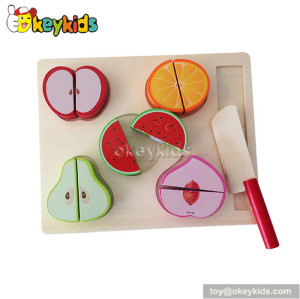 Pretend food children wooden cutting fruit toy W10B162A