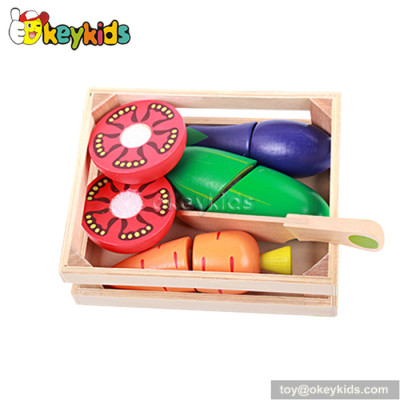 Pretend play children wooden cutting vegetables toy W10B165