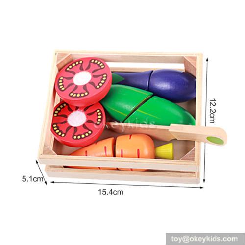 Pretend play children wooden cutting vegetables toy W10B165