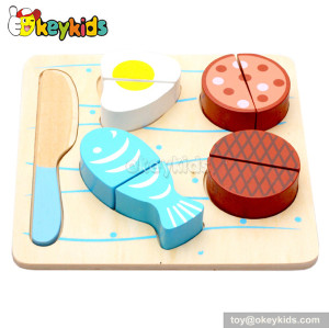 Pretend toy kids wooden play food set W10B091-B
