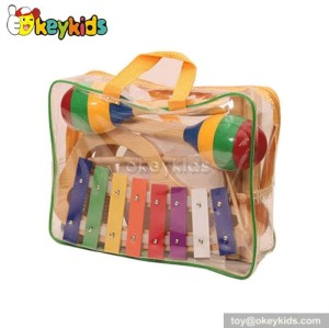 Wooden Musical Instrument Toy Set in bag,kid sand hammer drum triangle W07A081