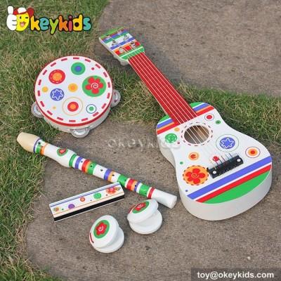 Wooden Musical Instrument Toy Set ,kid guitar harmonica tambourine for children W07A088