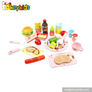 Top fashion kitchen toy wooden fast food play set W10B023