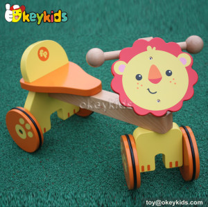 Best design children cartoon lion wooden 4 wheel bike for sale W16A025