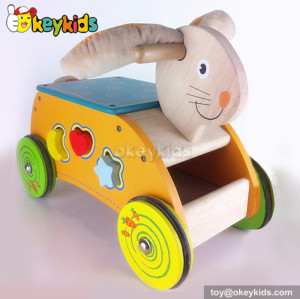 Top fashion cartoon rabbit children wooden toys car for sale W16A018