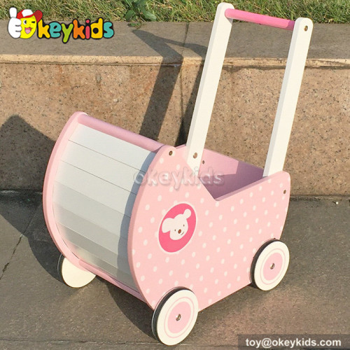 Newest design pink wooden baby push walker for sale W16E050