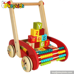 Lastest products baby wooden walker with blocks W16E046