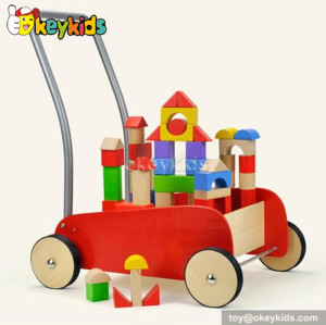 Lastest products funny wooden baby walker with bricks W16E028A