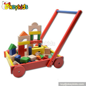 Wholesale cheap wooden baby walker car with blocks W16E019