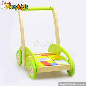 Wholesale cheap wooden toy kids walker with blocks W16E027