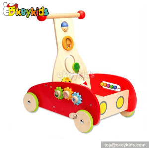 Wholesale cheap wooden toy baby walker with blocks W16E002