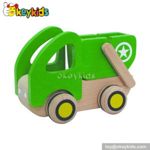 Handmade wooden garbage truck toys for kids W04A091