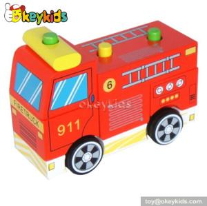 Handmade kids wooden toy fire trucks for sale W04A120