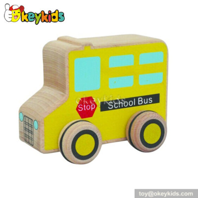 Wholesale cheap wooden school bus toys for toddlers W04A110