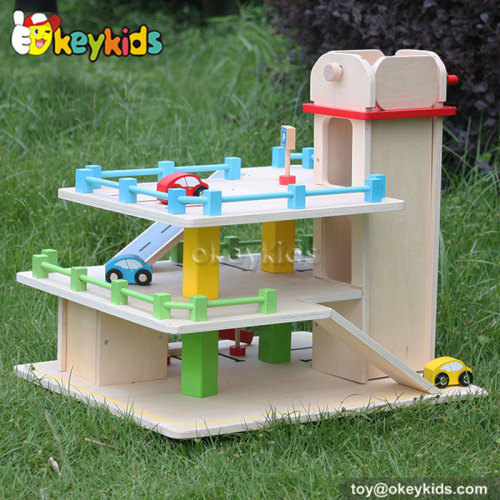 Top fashion kids wooden toy garage for sale W04B024