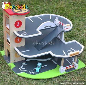 Best design children wooden car garage toy for sale W04B028