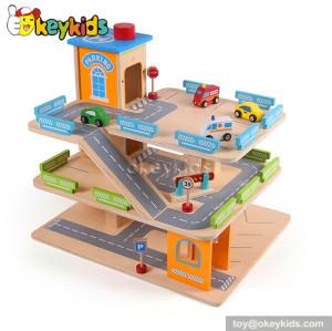 Best design wooden toy kids garage for sale W04B036