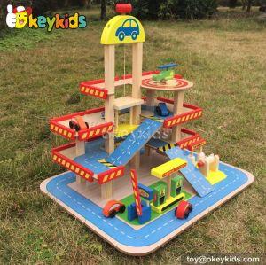 Best design children wooden toy car park for sale W04B034
