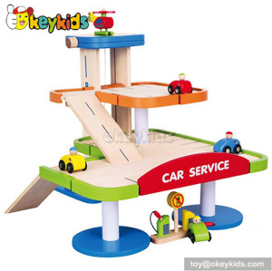 Wholesale fashion kids wooden toy car garages W04B021