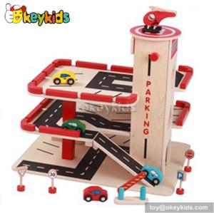 Wholesale fashion kids wooden toy car garage W04B025