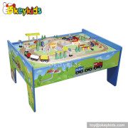 Top fashion kids toy wooden train table set W04D006