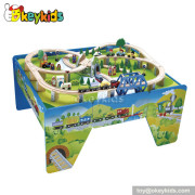 Top fashion children wooden train play table W04D016