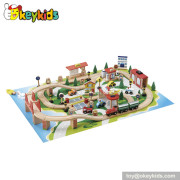 Hot sale 85 pieces kids toy wooden miniature train W04D014