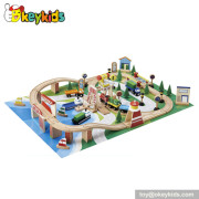 Hot sale 70 pieces children wooden miniature train toy W04D015