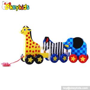 Lovely animal design drag wooden toys for toddlers W05B076