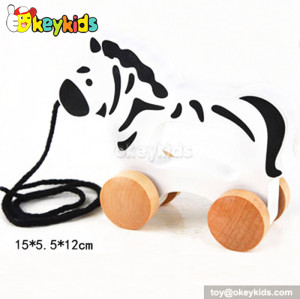 Cartoon design wooden drag animal toy for toddlers W05B083