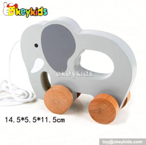 Cartoon design wooden drag animal toy for toddlers W05B084