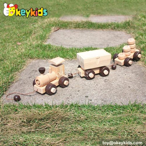 Cartoon animal car design wooden baby toys W05B086