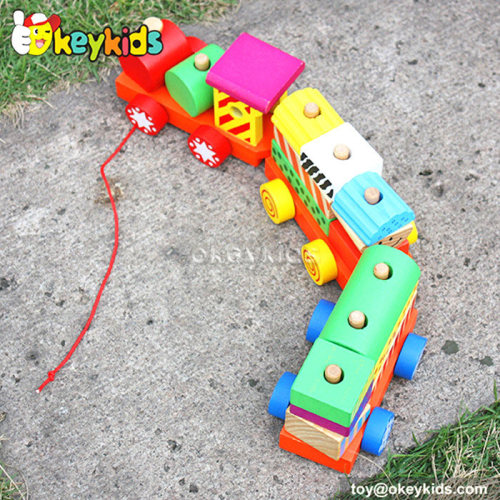 Cartoon train design kids wooden building blocks W05B087