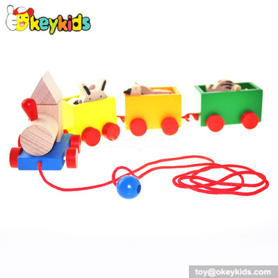 New design kids wooden pull train toy for sale W05B088