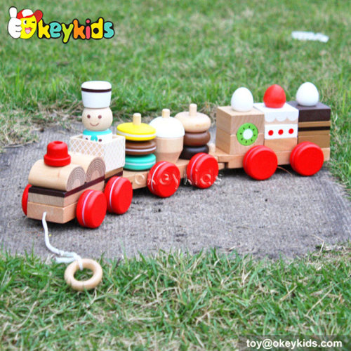 Cartoon cake design wooden train blocks for sale W05B089