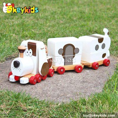 Cartoon train design wooden toys for kids W05B090