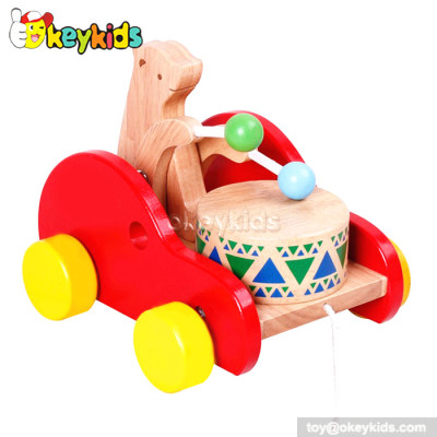 Wooden cartoon bear beating drum preschool toddlers toy W05B093