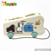 Cartoon pull and push wooden animal toy bus W05B117