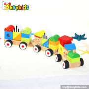 Cartoon pull and push baby wooden blocks train for sale W05C009