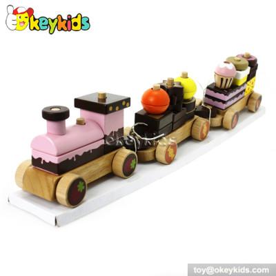 Cartoon cake design kids wooden stacking train for sale W05C026