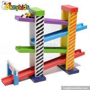 Creative ramp race children wooden rail car toy for sale W04E011