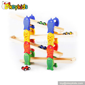 Creative children toy wooden ramp racing set for sale W04E029