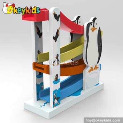 Cartoon penguin ramp racer wooden best toddler toys W04E043