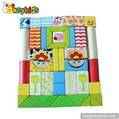 Best design 48 pieces preschool wooden toy building blocks for girls W13A027